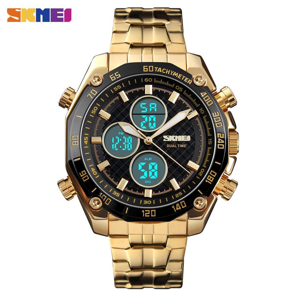 cba3182ada8 Compre Skmei Homens Relógio De Quartzo Dual Time Moda Cronômetro À Prova D   água Relógios De Negócios Relógio De Luxo Relogio Masculino 1302 De  Wonderliu