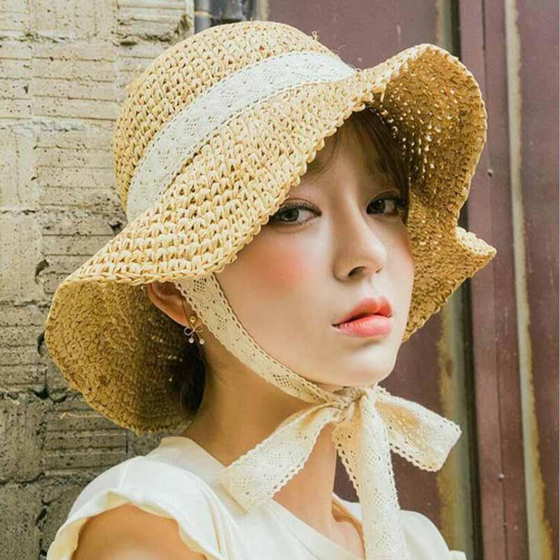 Summer Boater Hats For Women Straw Sun Hat Lady Girls Lace Ribbon Bow Panma  Beach Hat Floppy Female Travel Folding Chapeu Baby Hats Bucket Hats For Men  From ... 061a050c30c