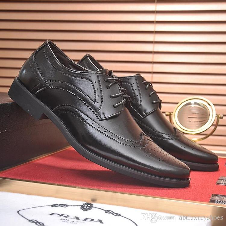 2b9f810b15 Compre Zapatos Formales De Vestir Para Hombres PRA Oficina Pisos Negocio  Calzados Italia Tendencia Lujo Lujo Cuero Casual Encaje Estilo De Trabajo  Zapatos ...