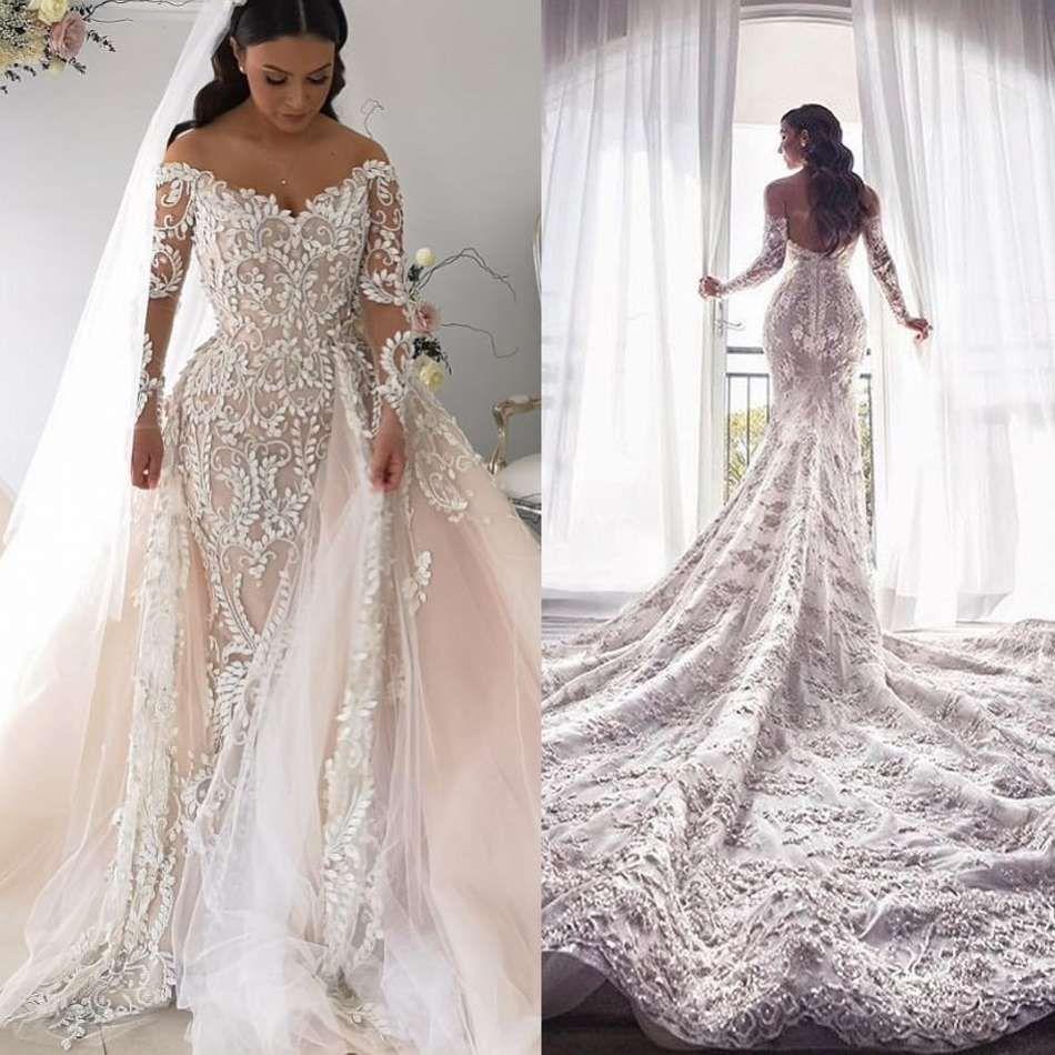Wedding Gown With Detachable Train: Elegant Boho Mermaid Wedding Dresses 2019 Off Shoulder