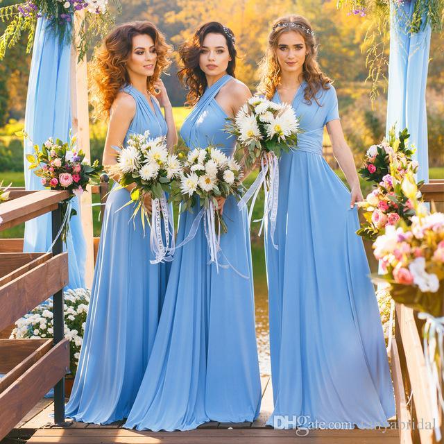 Jersey Convertible Bridesmaid Dresses Halter Custom Made Blue Maxi Boho  Infinity Floor Length Sleeveless Multiway Dress Summer Evening Dresses  Unique Formal ... ae206e0f390a