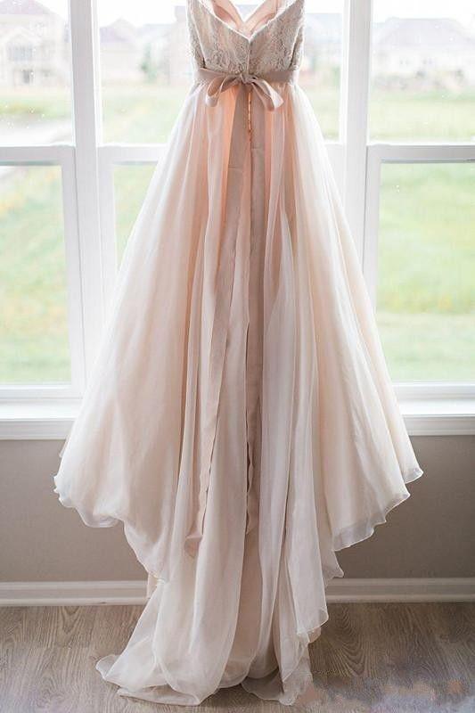 Blush Pink Lace Top Wedding Dresses Sweetheart Backless Bow Sash Boho Wedding Gowns Robe de Mariage Bridal Dress