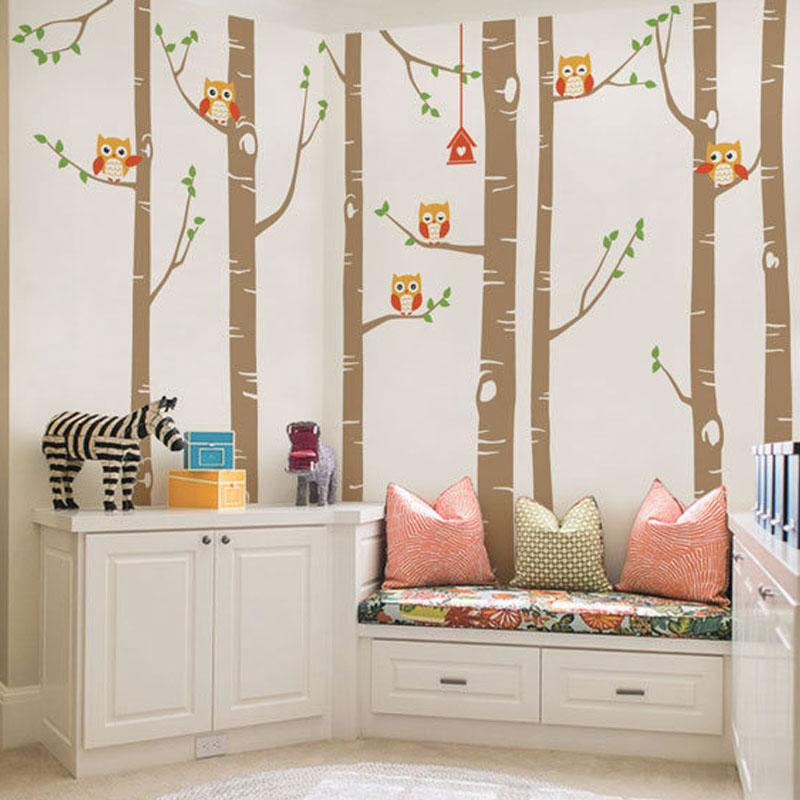 big birch tree vinyl wall decals cute owls nature wall sticker