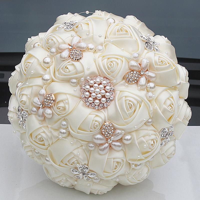 Gorgeous Crystal Ivory Wedding Bouquet Brooch Bowknot Wedding Decoration Artifical Flowers Bridal Bouquets W252-17