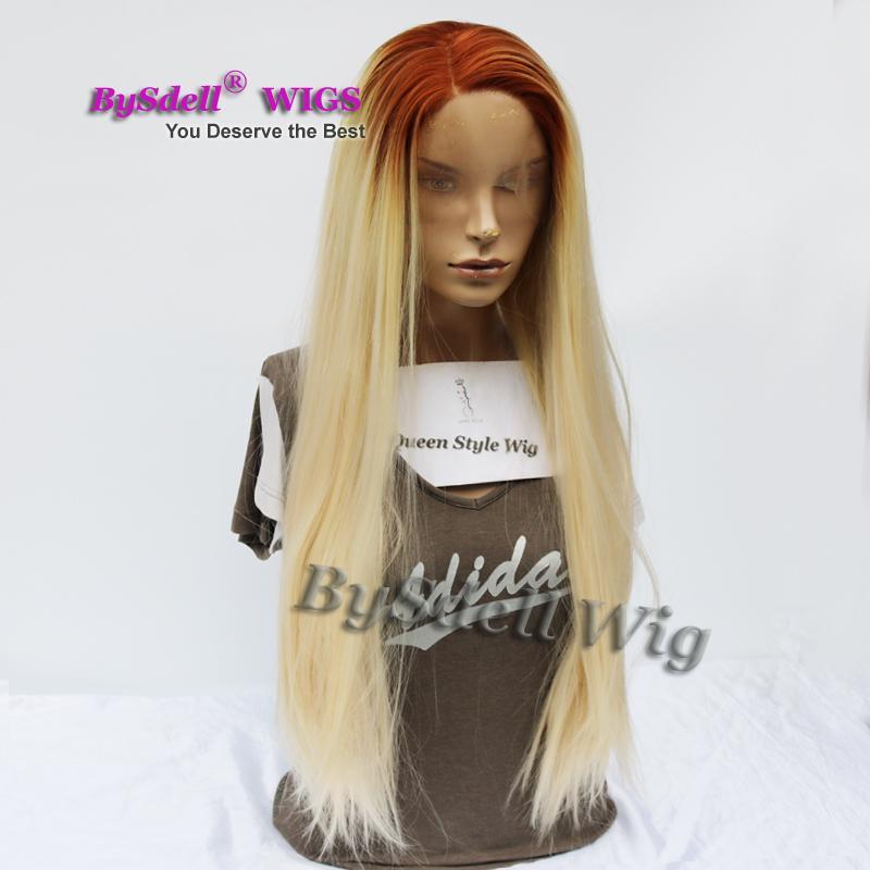 긴 실키 스트레이트 금발 머리 레이스 앞 가발 두 톤 브라운 뿌리 옹 브르 빛 금발 머리 색 머리 여자가 발