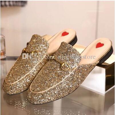 Tasarımcı Kadın Hakiki Deri Terlik Loafer'lar Muller Ayakkabı Altın Toka Ile Kadınlar Princetown Terlik Bees Desen Bayanlar Daireler Kutusu Ile