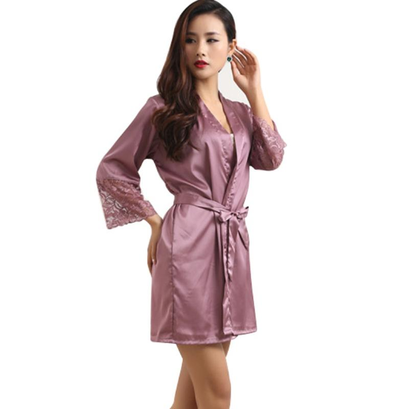 2018 86 Mid Sleeve Sexy Women Deep V Nightwear Robes Plus Size Lace Silk  Female Bathrobes Sleepwear From Erzhang 5f4d28a2c