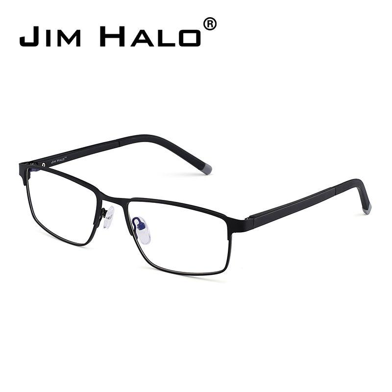 Compre Jim Halo Retro Rectángulo Óptico Metal Marco Negro Ligero ... d3b9abf947