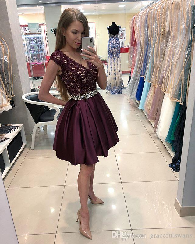 7fe9889236 Deep V Neck Sexy Short Prom Dresses Lace A Line Satin Formal Dresses Beaded  Waist Charming Homecoming Dresses Burgundy Graduation Gowns Create Your Own  Prom ...