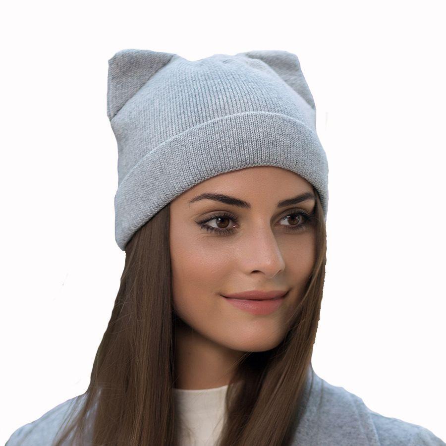 e1c95ac92 Solid Women Autumn Winter Knitted Hats Cute Kitty Beanie Hat For Women  Girls Winter Real Wool Cat s Ear Cap Skullies Gorras