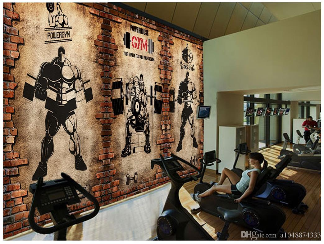 Wholesale Custom Photo Wall Mural Wallpaper Non Woven Wallpaper 3d  Nostalgic Brick Wall Vintage Sport Fitness Club Weightlifting Backdrop  Wallpapers