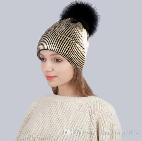 e766379b8dc3d Designer Gold Stamp Snow Knitted Pom Beanies Hats For Mens Womens Skull  Winter Cap Slouchy Head Warmer Hair Bonnet With Fur Ball Fitted Hats Straw  Hats From ...