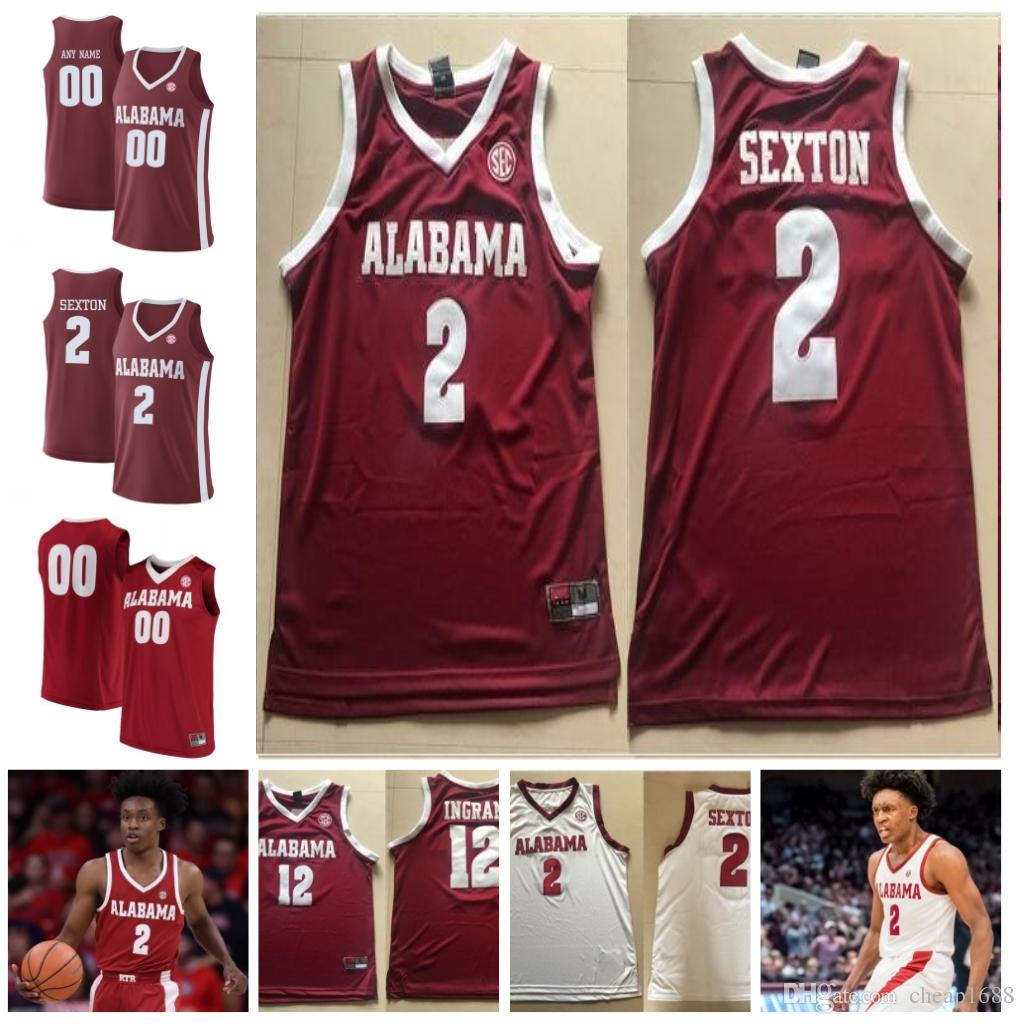 da986ccc0 2019 Custom Alabama Crimson Tide 2 Collin Sexton 0 Donta Hall 23 John Petty  Dazon Ingram Stitched Any Name Any Number College Basketball Jersey From ...