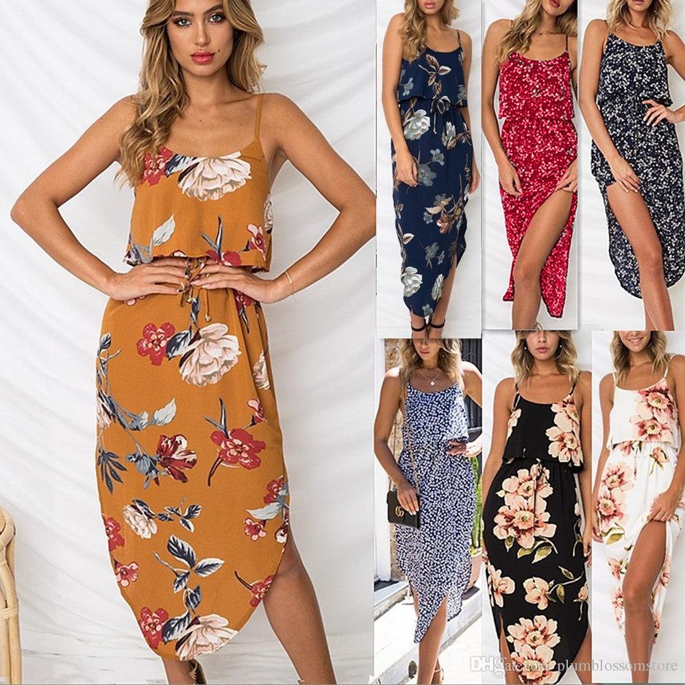 401d82870d4 Women Summer Dresses Bohemian Beach Spaghetti Strap Irregular Floral  Printed Dresses Sleeveless Seaside Holiday Long Backless Dresses New  Cocktail Dress ...