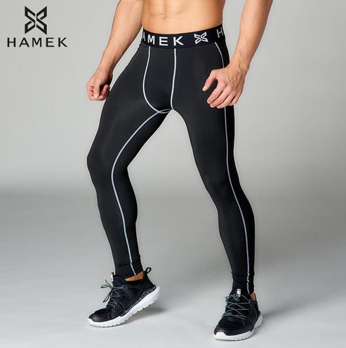 5cdd220fb4716 2017 New High Quality Anti-Sweat Long Gray Line Sport Running Pants Leggings  Fitness Compression Apparel Men's Running Tights