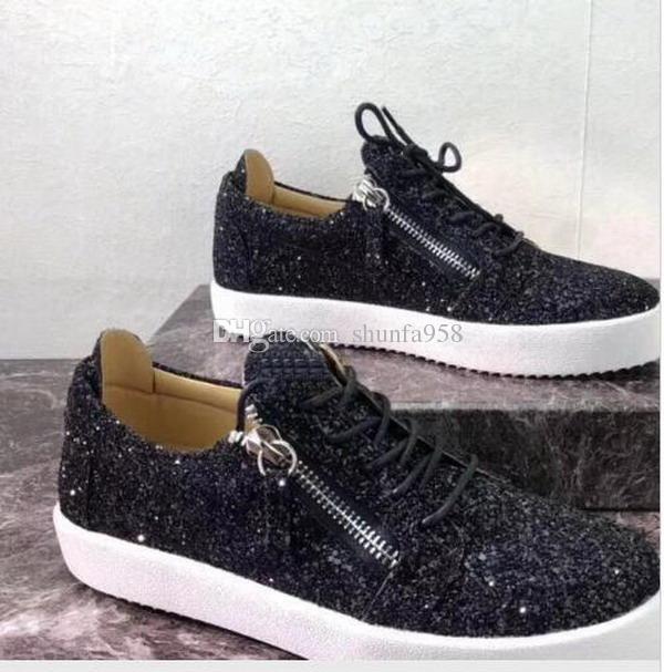 9b6cac7d4d7d6 Acheter Nouveau Luxe FEMME Hommes CHAUSSURES DE MARQUE TOP QUALITY BLACK  Paillettes CHAUSSURES LUXE ZIP Zippé Hommes Sneakers SNEAKERS HOMME  Chaussures ...