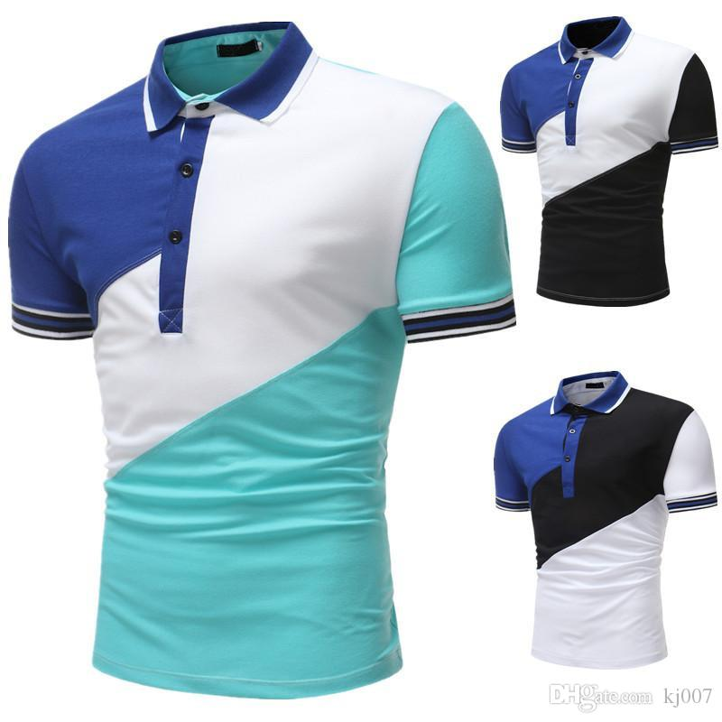 29bd9556f34 Compre Patchwork Camisas Polo Pantalones Cortos De Verano Venta Camisetas  Polos Manga Corta Moda De Alta Calidad Nuevas Camisetas Color De Contraste  ...