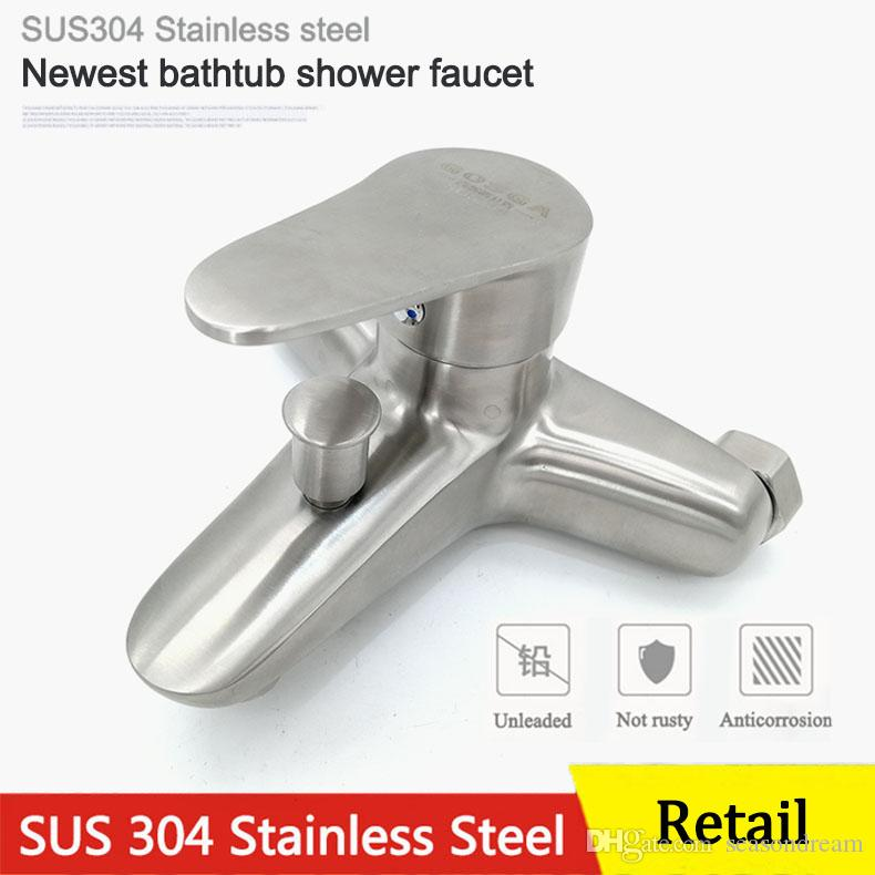 Retail Newest Bathroom Bathtub Shower Double Outlet Faucet 304 ...