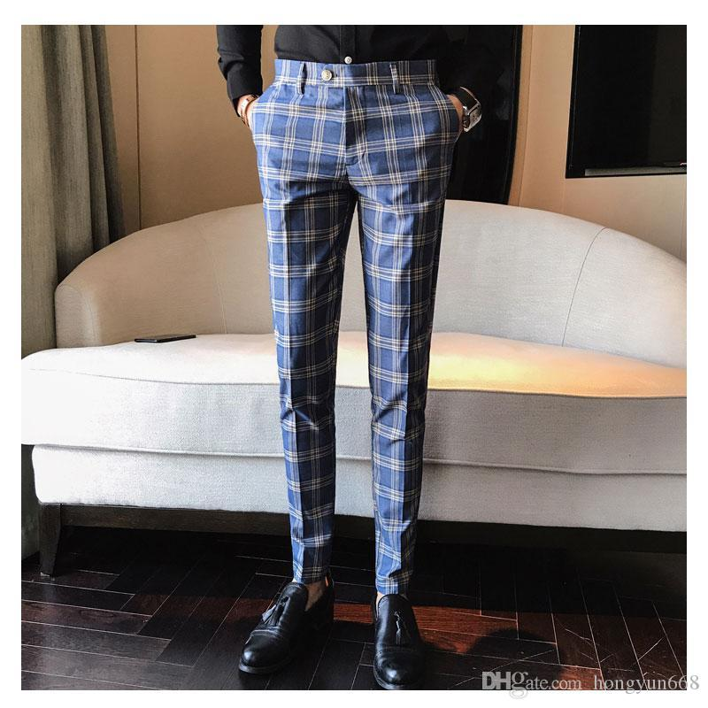 b79564e9fb56c3 Men Pant Plaid Business Casual Slim Fit Pantalon A Carreau Homme Classic  Vintage Check Suit Trousers Wedding Pants