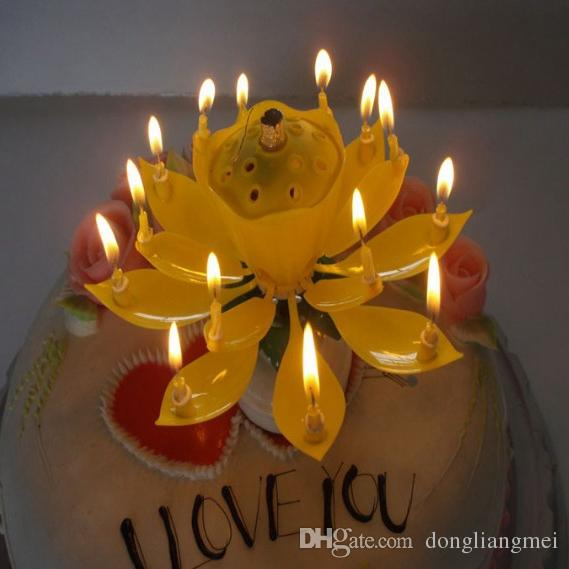 2 Layer Petals Music Candle Children Birthday Party Lotus Sparkling Flower Candles Squirt Blossom Flame Cake Accessory Gift wn371