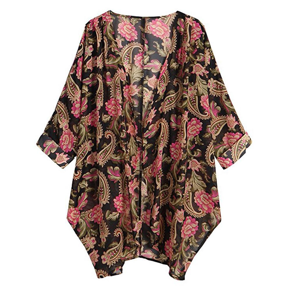 5d3fb26a78 Womens Casual Floral Print Long Sleeve Chiffon Cardigan Loose Kimono Blouse  Tops Denim Jacket For Women Long Jacket Fur Jackets From Cashmere52
