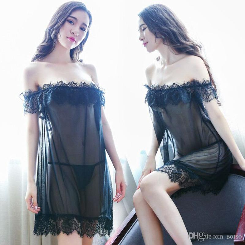 Sexy Lingerie Women s Lace Mesh Temptation Charming Pajamas One ... 44a336835