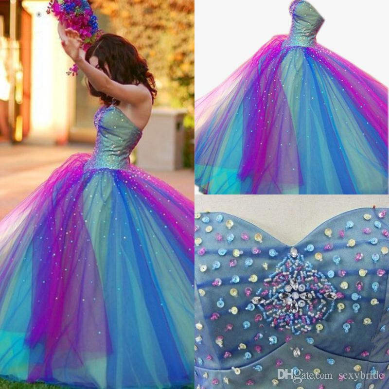 94222b0e2ff1 Colorful Rainbow Ball Gown Prom Dresses New 2019 Crystals Beaded Sweetheart  Strapless Quinceanera Dress 15 Year Evening Gowns Sweet 16 Dress Prom  Dresses ...
