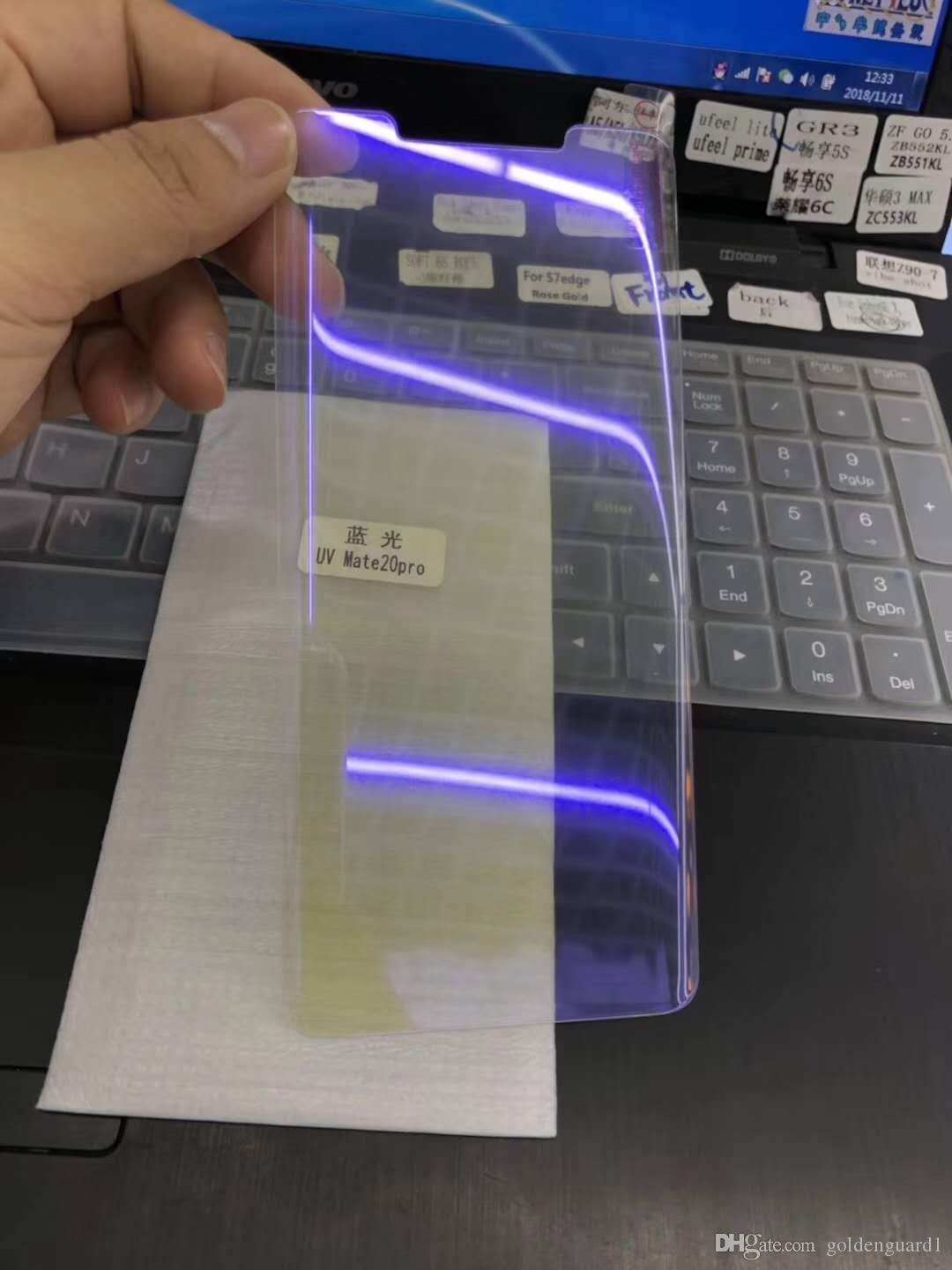 super popular 6d254 1382e For Huawei Mate 20 Pro 3D Curved Edge Tempered Glass Screen Protector Film  Anti Blue Light Full Cover Purple Light Ray LCD Protective Guard