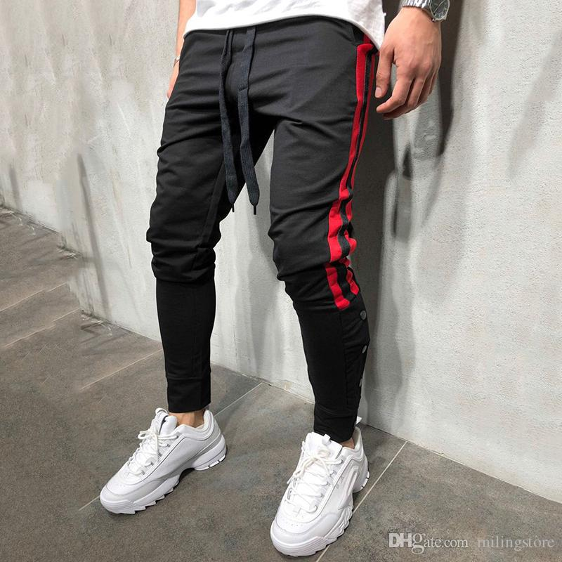b414427872f92 Fashion Hip Hop Men Track Pants Fitness Streetwear Trousers Kanye West  Striped Drawstring Joggers Sweatpants Pantalon Homme Online with  $27.55/Piece on ...