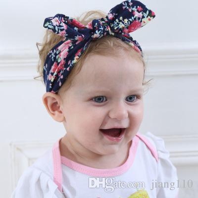 INS New Kids Baby Headbands Bohemian Rabbit Ears Hair Accessories Bow Knot  Head Wrap Girls Elastic Bunny Imprint Cotton Headband Headwear Cotton Baby  ... 85331da711e8
