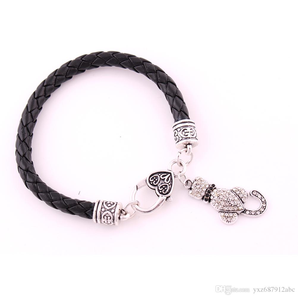 Animal bracelet Lobster Claw Antique Silver Wheat Link Bracelet Chain With White And Black Crystal LOVE CAT Pendant Bracelet