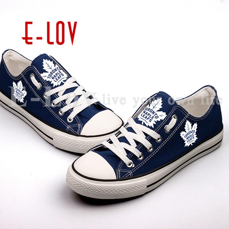 c27dc06113e7 New Hot Sale Blue Canvas Shoes Toronto Maple Leafs Fans Order Shoes Fashion  Print Low Top Lace Black Shoes Nude Shoes From Vikiipedia