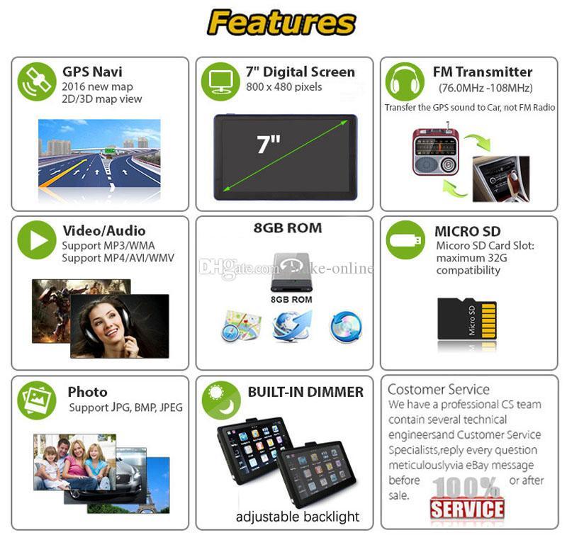 HD de 7 polegadas Car Navegação GPS Bluetooth Handsfree Navigator AVIN sem fio de backup Retrovisor Camera 8GB Mapas TTS com pára-sol presente