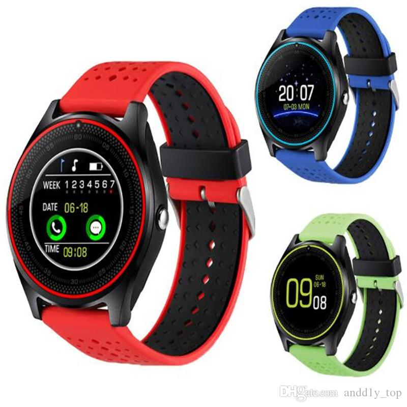 V9 smartwatch android V8 DZ09 U8 samsung relógios inteligentes SIM Inteligente relógio do telefone móvel pode gravar o estado de sono relógio Inteligente