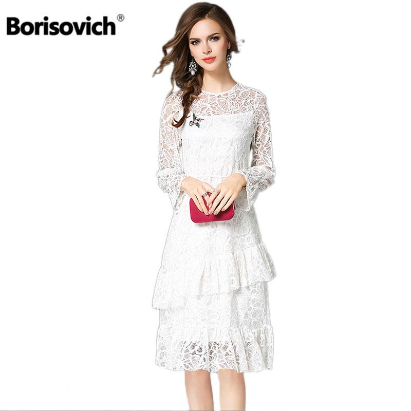 5d89d38e3a8e 2019 Borisovich New 2018 Spring Fashion Ruffles Flare Sleeve Knee Length  Ladies Party Dress Women White Lace Casual Dresses M029 From Burtom, ...
