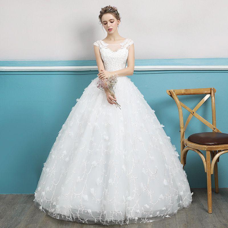 New Women Rice White Ball Gown Wedding Dress Long Wedding Gowns Robe ...