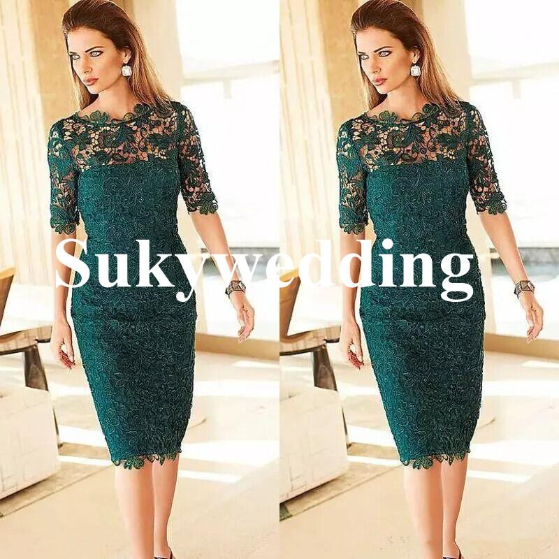 Elegant Lace Mother of the Bride Dresses Sheath Tea Length Emerald Green Women Cocktail Party Gowns with Half Sleeves Custom Made