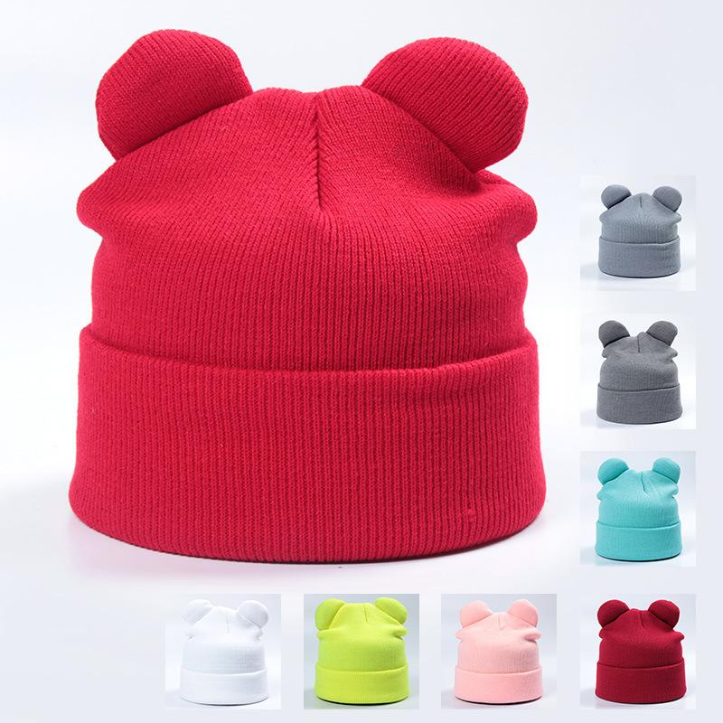 a010eaabf8d09 Winter Knitted Hats For Girls Cap Women s Beanies With Cat Ears ...