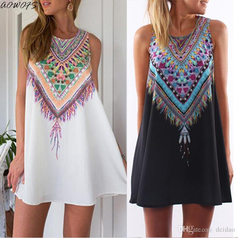 a85e7a26e6b Wholesale- AOWOFS Fashion Women Summer Dress Casual Bohemian Tank ...