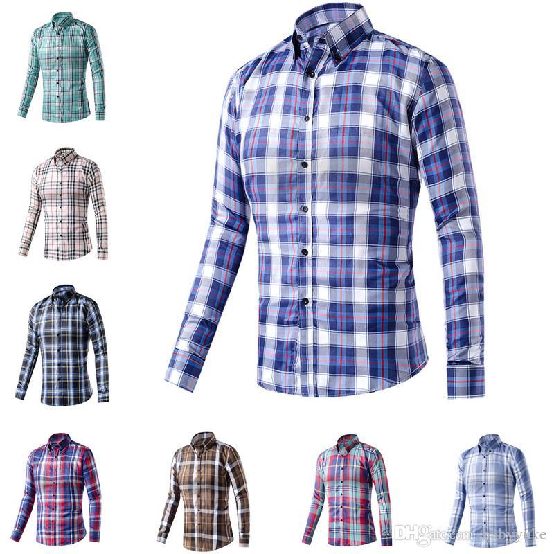 e195cbe0b Camisa a cuadros baratas Camisas de vestir para hombres Camisa a cuadros  con estampado de ropa casual para hombre multicolor entrega aleatoria  camisa ...