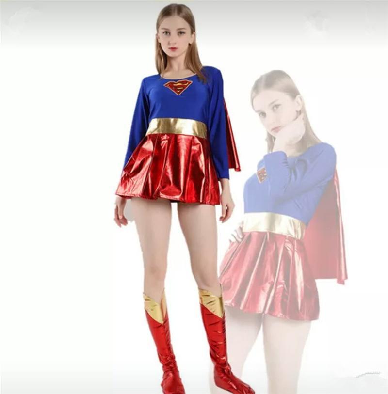 Compre 2018 Nuevo Disfraz De Súper Héroe Súper Niña Cosplay Fantasía Halloween  Mujer Maravilla Vestido De Fantasía Con Mantón Y Cubierta De Bota A  31.46  ... 4b4631f89305