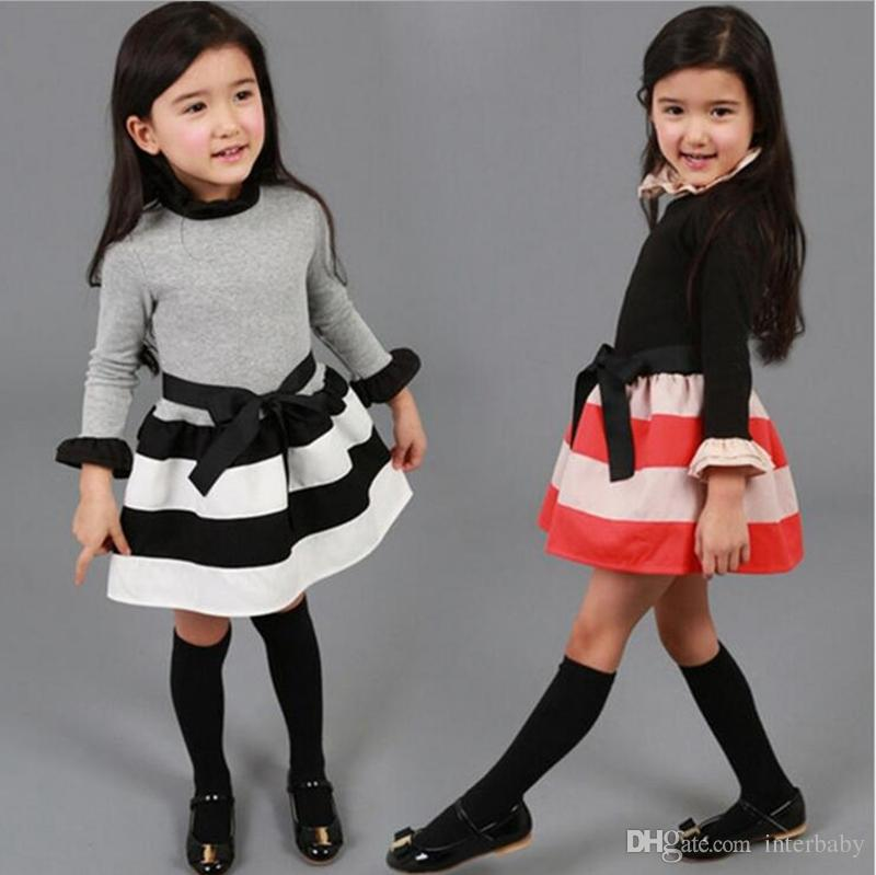 ba6253a83ca 2019 Girls Dresses Autumn Stripe Bow Baby Dresses Girls Princess Dress  Toddler Korean Style Dress Kids Designer Clothes YL452 From Interbaby