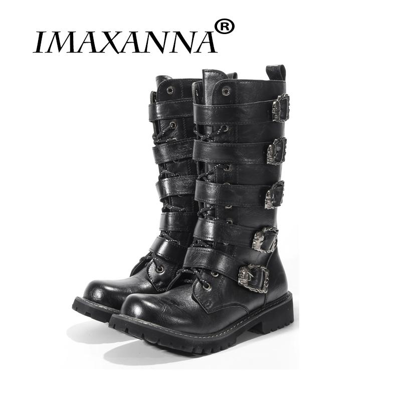 4bf3f0a738 IMAXANNA Mid Calf Motorcycle Men Boots Leather Skull Winter Shoes Male Botas  Hombre High Top Men Shoes Boots Shoes Ankle Boots For Women From Mkfobia