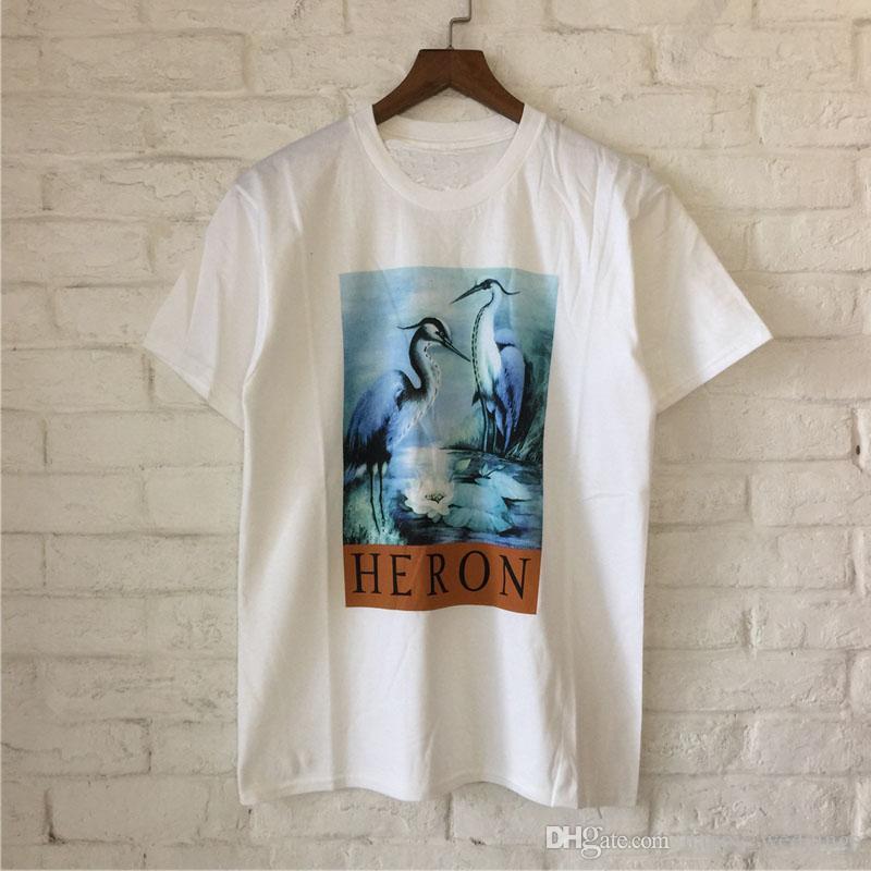 Heron Preston T Shirts 2018 New Men Women Streetwear Heron Preston Top Tees T-shirt Red-crowned Crane London Heron Preston Tshir