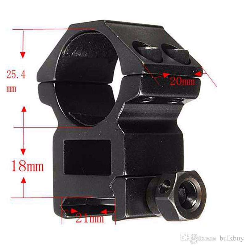 Anillo de alcance 25.4mm de perfil alto Fit 20 mm Picatinny Weaver Mount montaje de linterna Soportes de caza
