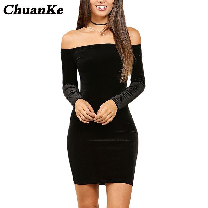 Großhandel ChuanKe Sexy Off Schulter Mantel Samt Kleid Frauen Winter Party  Langarm 2018 Elegante Bleistift Bodycon Damen Kleid Vestidos Von Burtom, ... ae451e419e