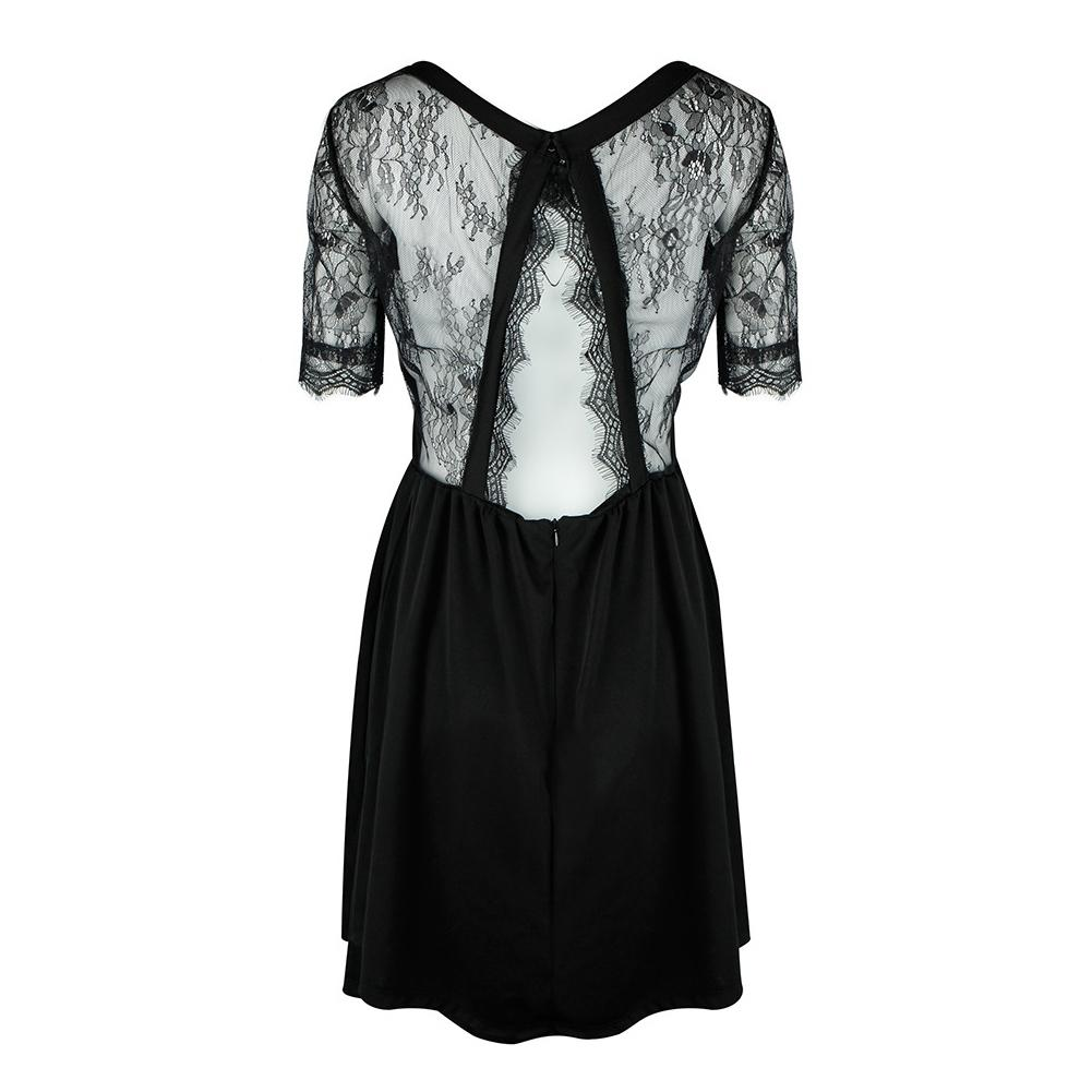baa54f8c06 Sexy Women Lace Splice Dress Short Sleeve Backless Back Cut Out Summer Dress  O Neck Zip Party Club Mini Dresses Black Vestidos White Dresses For  Teenagers ...
