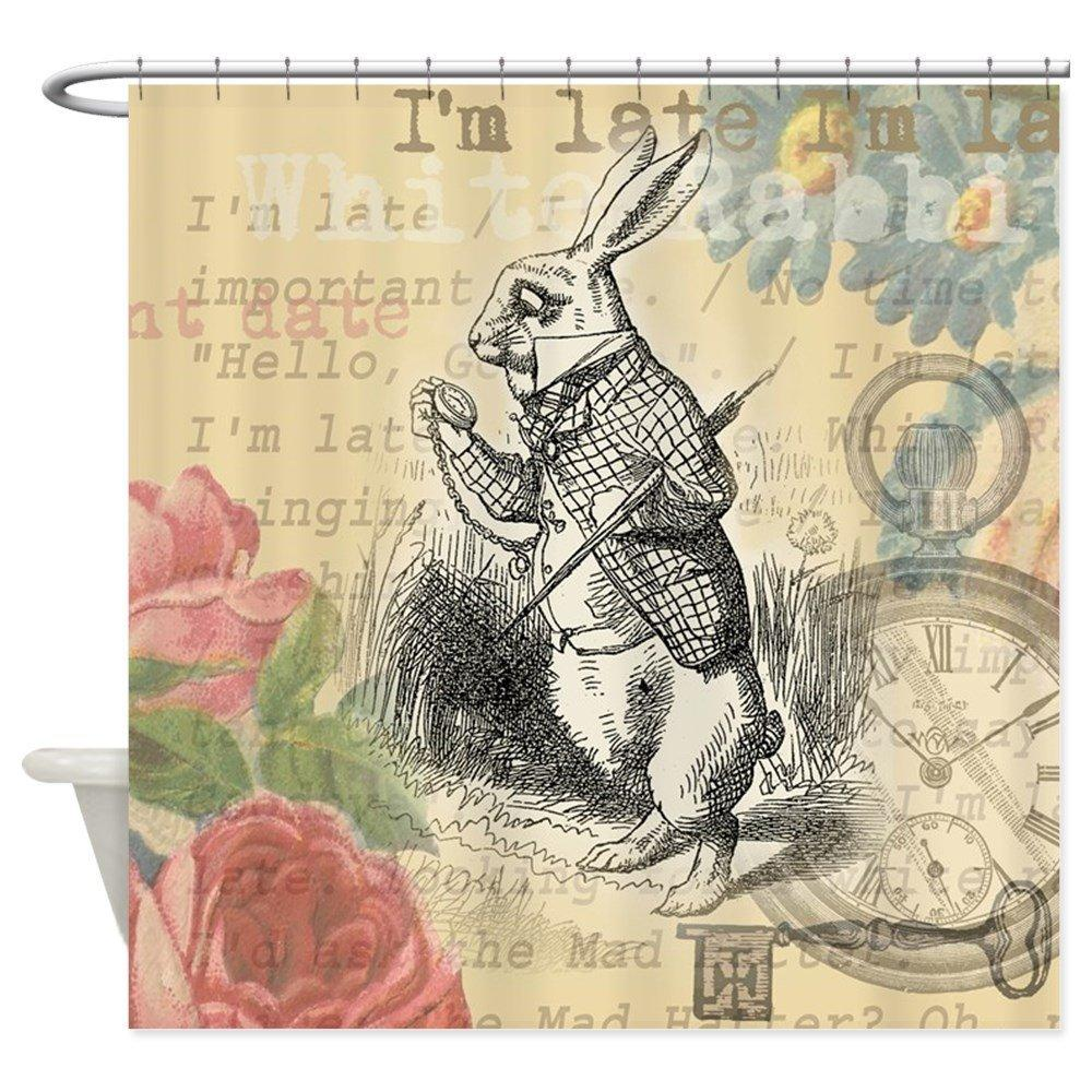 2019 White Rabbit From Alice In Wonderland Shower Curta Decorative Fabric Curtain 69x70 Caley 3032