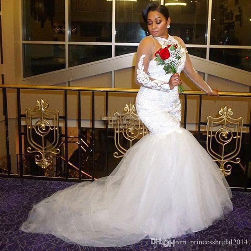 0723cb439 Vestido Curto De Noiva ZYLLGF Africano Alta Pescoço Vestidos De Casamento  2018 Lace Apliques Beads Sheer Mangas Compridas Vestidos De Noiva Tule  Sereia Plus ...