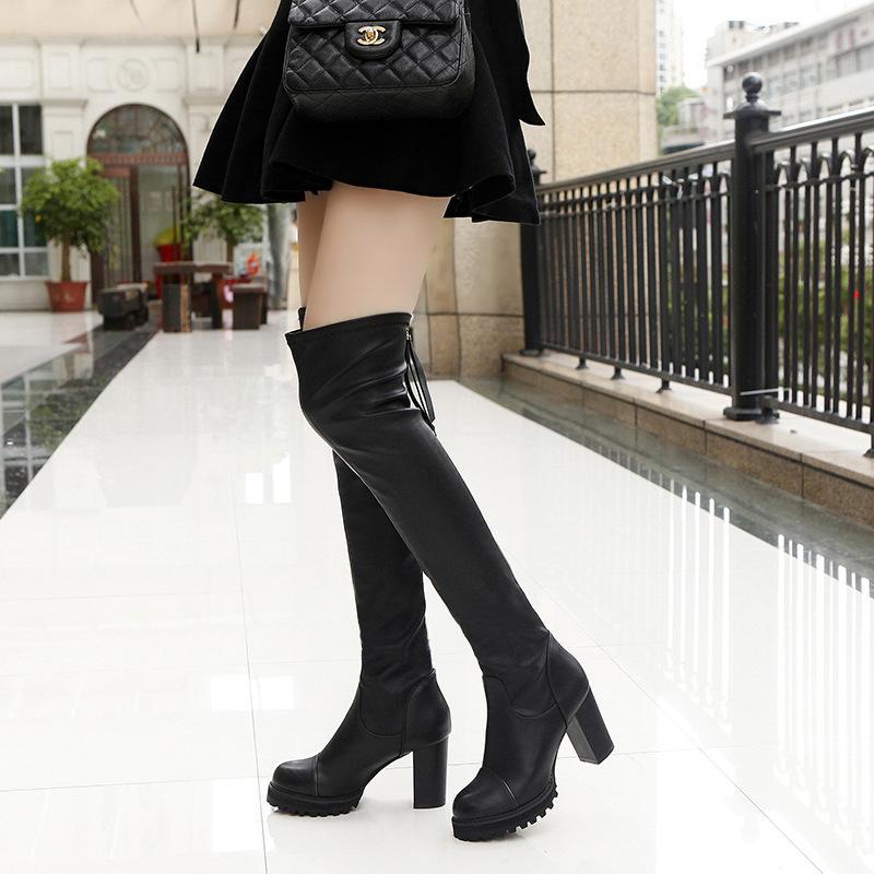 4413b4fb4a5d Acheter Mode Bottes Longues Noir Chaussures Femme Cuisse Bottes Bottes  Botas Mujer Talons Hauts Hiver Femmes Chaussures Bottines Femmes  Occidentales De ...